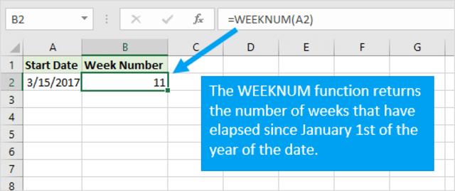 Chúng ta có thể sử dụng hàm WEEKNUM để nhanh chóng tính số tuần trong excel từ ngày 1 tháng 1 đến một ngày cụ thể trong cùng năm.